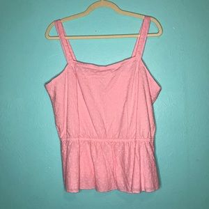 levis pink peplum tank with floral embroidery